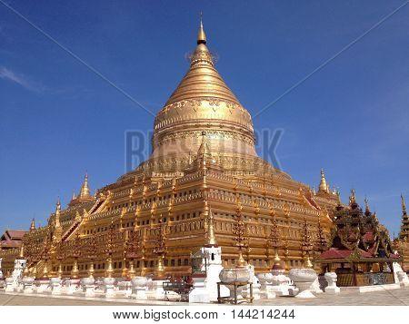Shwezigon Pagoda in Nyaung-U Bagan in  Myanmar