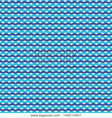 Blue ocean waves marine seamless pattern. Design marine sea background, vector illustration