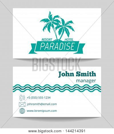 Tropical hotel business card template. Touristic agency card. Vector illustration