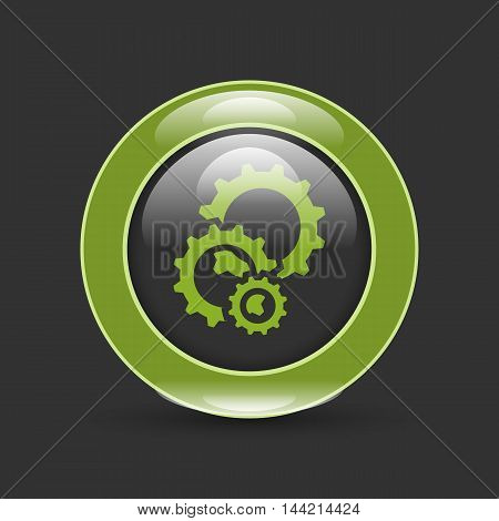 cogs gears in circle with shadow on white
