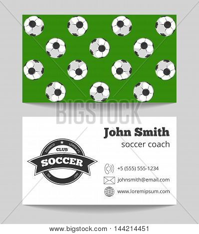Soccer club business card both sides template in green and white colored. Vector illustration