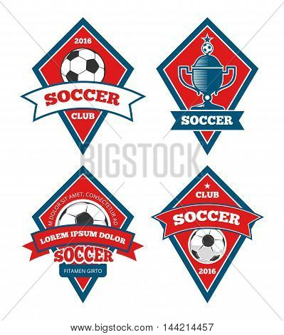 Soccer logo templates collection isolated white. Set of emblem for football tournament, vector illustration