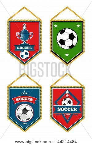 Soccer pennants set isolated white. Football flag emblem, vector illustration
