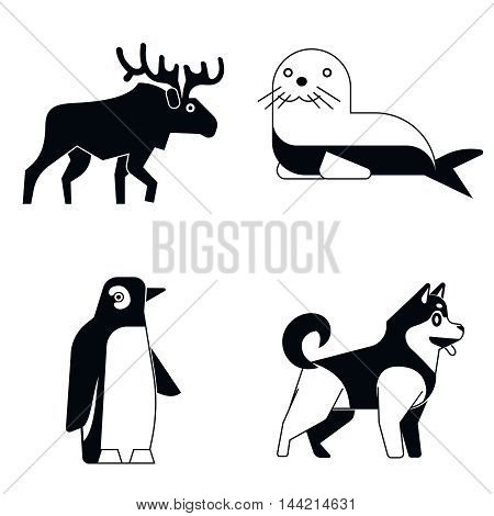 Polar animals in simple monochrome style on white shadow. Vector illustration