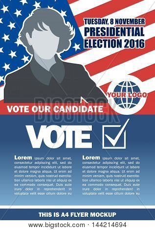 Usa 2016 election a4 flyer mockup with country map vote checkbox and female candidate. Digital vector image