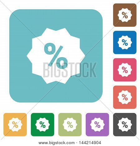 Flat discount icons on rounded square color backgrounds.