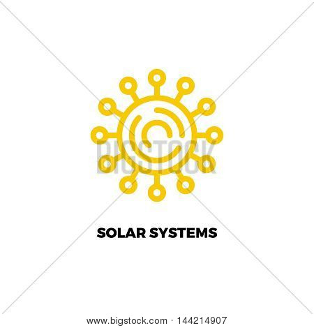 Sun line logo.  Simple vector logo of solar power. Alternative energy source logo. Renewable energy. Sun technology logo
