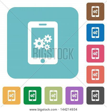 Flat smartphone settings icons on rounded square color backgrounds.