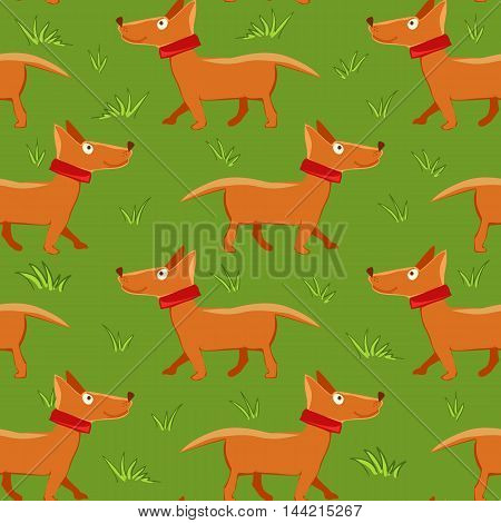Vector illustration of seamless pattern with repeating dog green grass background