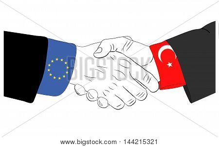 Handshake of the european and turkish hands