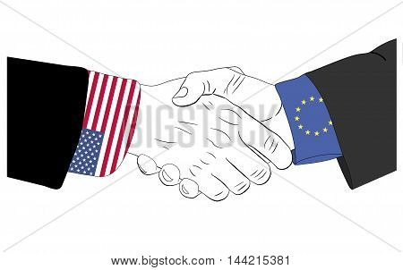 Handshake of the european and american hands
