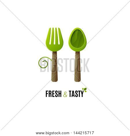 Healthy food vector logo template. Fork and spoon food logo. Vegan food logo.