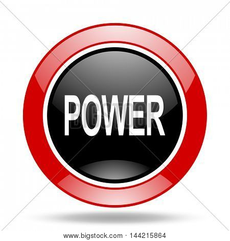 power round glossy red and black web icon