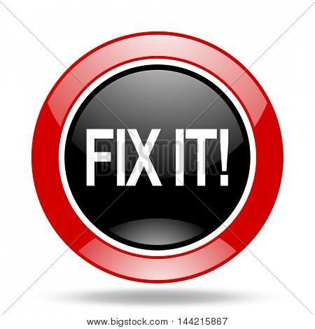 fix it round glossy red and black web icon