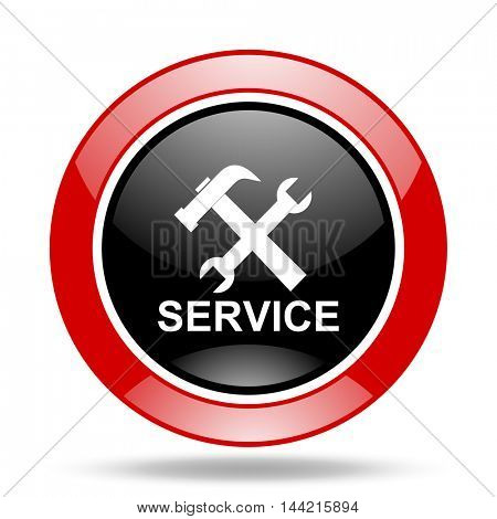 service round glossy red and black web icon