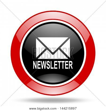 newsletter round glossy red and black web icon