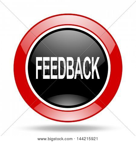 feedback round glossy red and black web icon
