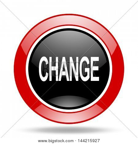 change round glossy red and black web icon