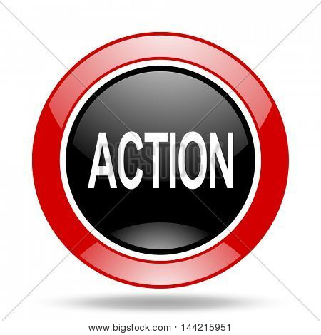 action round glossy red and black web icon