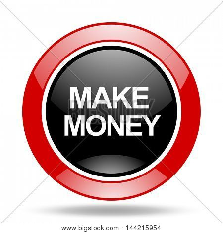 make money round glossy red and black web icon