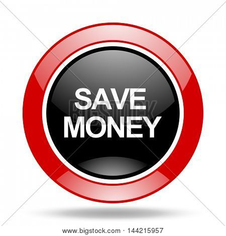 save money round glossy red and black web icon