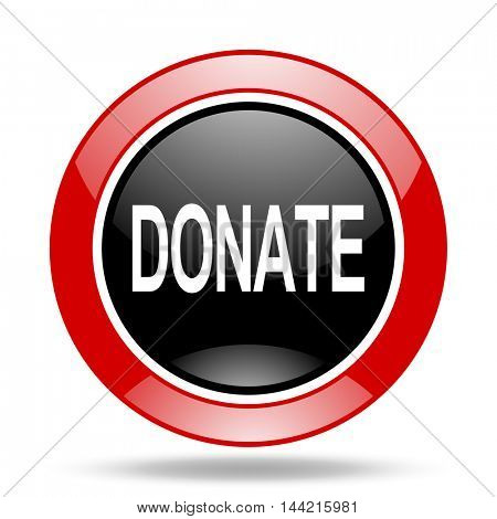 donate round glossy red and black web icon