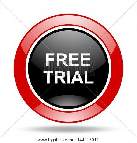 free trial round glossy red and black web icon