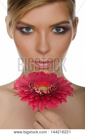 portrait of woman with chrysanthemum isolated on white
