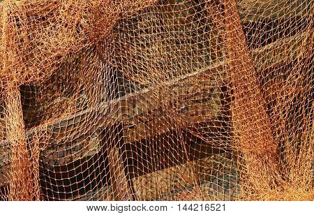 old fishing nets laid out to dry