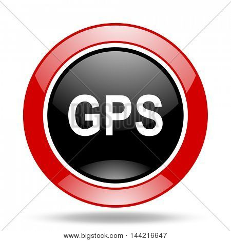 gps round glossy red and black web icon