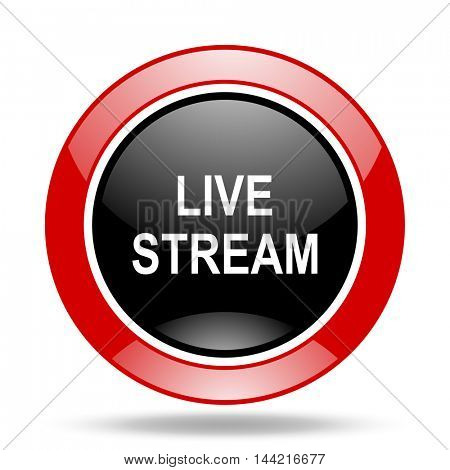 live stream round glossy red and black web icon