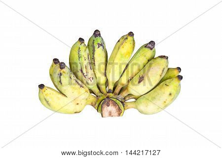 Bunch of ripe banana isolated on white background.