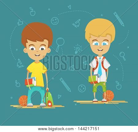 Character design. Happy schoolboys with a briefcase back to school. Icons on the blue background