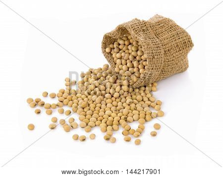 soybean in small sack on white background