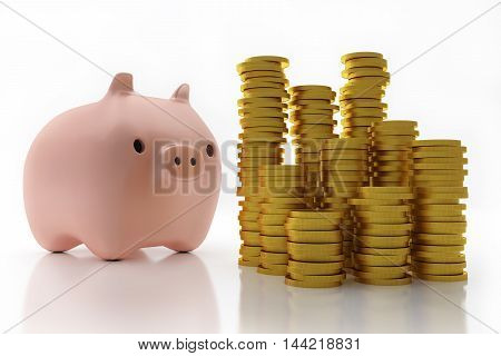 Pink piggy bank with pile of coins
