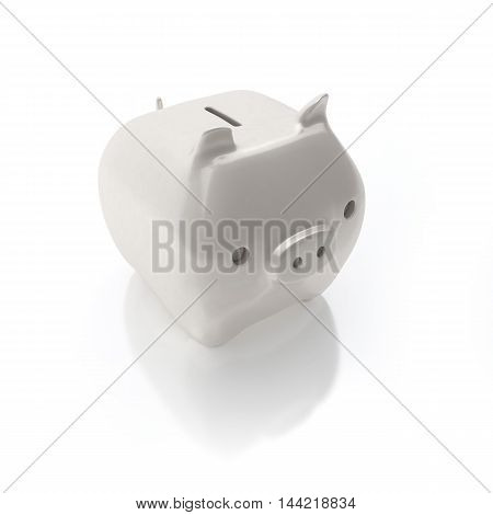 White piggy bank isolated on white background