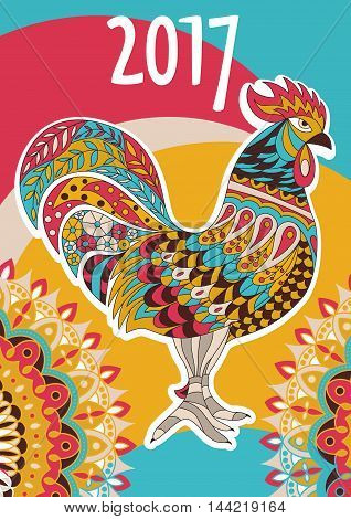 Vector cover calendar 2017. Colorful rooster - the symbol of the Chinese New year. Vector Design Print Template with decorative element . A4 size