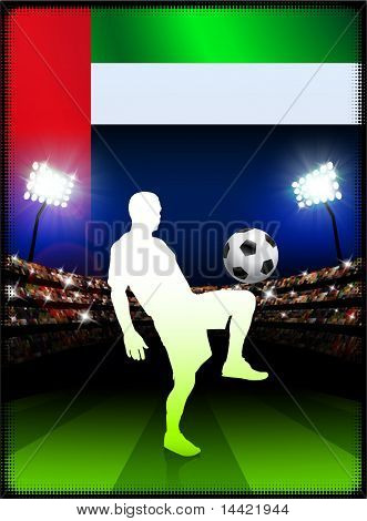United Arab Emirates Flag with Soccer Player on Stadium Background Original Illustration