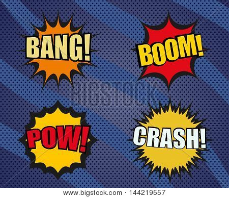 Set of sound comic bubbles in pop-art style. Cartoon illustration. Expressions bang, boom, pow, crash. Modern dotted background with wavy lines