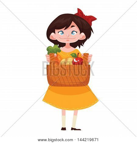 Caucasian girl standing and holding baskets of freshly harvested fruits and vegetables, cartoon style vector illustration isolated on white background. Happy child gardening concept