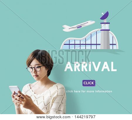Arrival Business Trip Flights Travel Information Concept