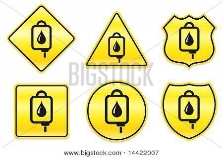 Bloed IV infuus pictogram op geel ontwerpt originele illustratie