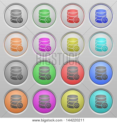 Set of database programming plastic sunk spherical buttons.