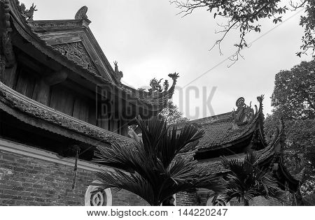 HA NOI, VIET NAM, August 17, 2016 Tay Phuong ancient temple on the outskirts of Ha Noi, Vietnam, unique architecture, part of the roof, the famous Buddhist sites in Vietnam