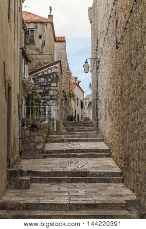 A view of streets of Dubrovnik Old Town in the morning.
