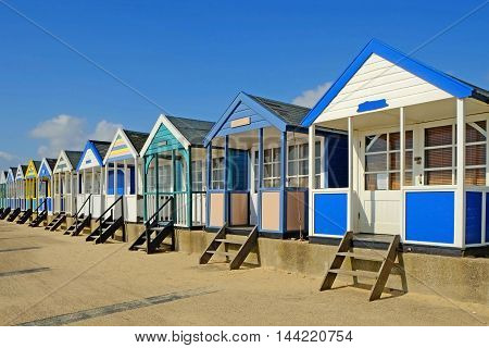 Chalets on the famous Southwold Promenade, Suffolk, England