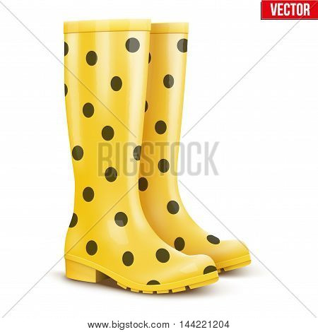 Pair of yellow rubber rain boots with black dots. Symbol of garden wok or autumn and weather. Vector illustration Isolated on white background.