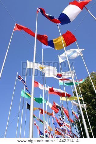 National flags flutters freely on the blue sky