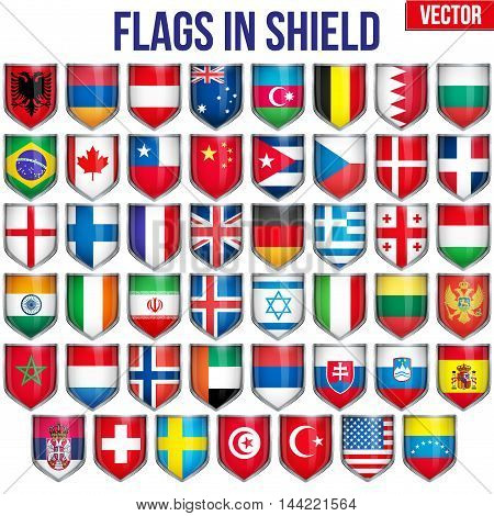Big Set of Shield with flags. Premium bright design. Editable Vector Illustration isolated on white background.
