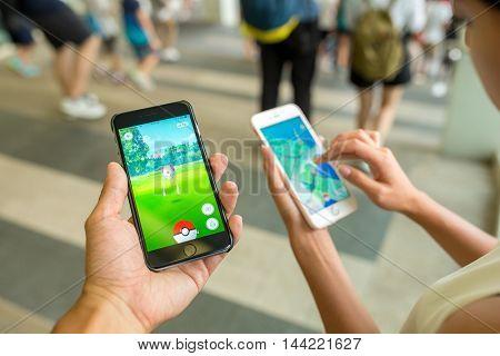 HONG KONG, CHINA, AUGUST 8, 2016 : iPhone6s Plus running Pokemon Go